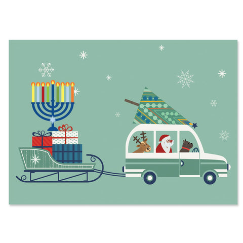 Santa in Car Bringing Home Tree, Gifts and Menorah