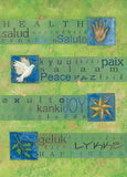 Wishes of health, peace, joy and happiness in a multitude of world languages are the focus of this sophisticated card.