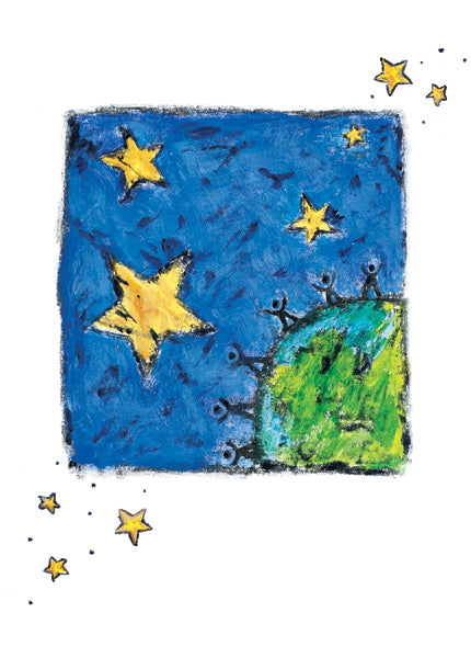 Artistic renderings of mankind reach toward stars representing peace and hope in this original artwork