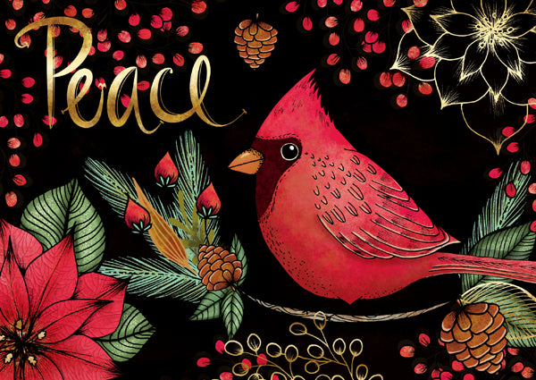 A vibrant cardinal sends a message of peace in this original painting