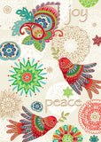 Meticulously detailed colorful birds combine with intricate holiday symbols in this sophisticated design promoting wishes of joy and peace.