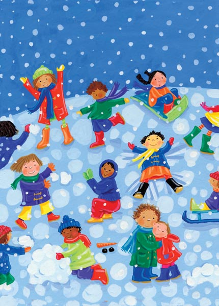 Children playing in the snow is a seasonal image sure to bring a smile to everyone.