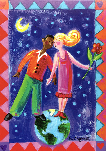 Top of the World Interracial Couple Anniversary Card
