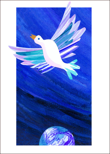 A contemporary dove symbolizing peace dwarfs the earth below in this original collage