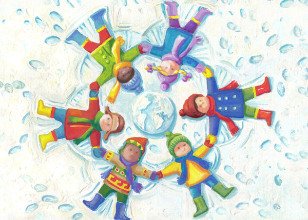 Children of the world make snow angels in this original painting