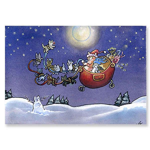 Interfaith Cat Sleigh Holiday Greeting Cards