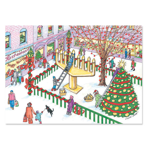 Interfaith Village Scene Holiday Greeting Cards