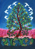 Doves alight in unison from the Tree of Peace in this original painting