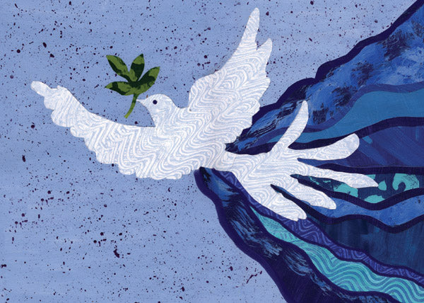 This contemporary collage features a dove symbolically stretching its wings to envelop the world in peace.