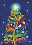 A contemporary interpretation on a classic evergreen tree features symbols of holiday joy and peace in this original painting