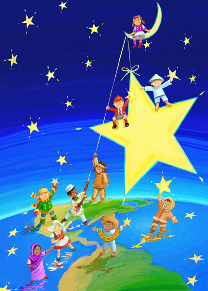 Children from many lands work together to hoist a star into the night sky