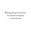 Inside text:ᅠ Holiday greetings and best wishes for happiness for a New Year of happiness in a world of peace