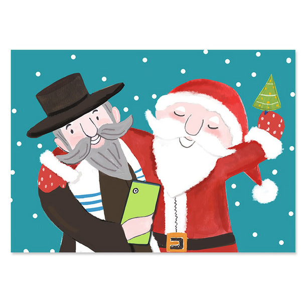 Santa Rabbi Selfie Interfaith Holiday Cards