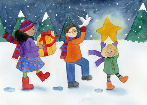 Holiday gifts of peace, joy and happiness are portrayed by three friends on an evening walk in the snow