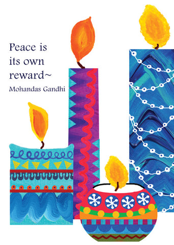 Contemporary Candles of Peace Holiday Cards