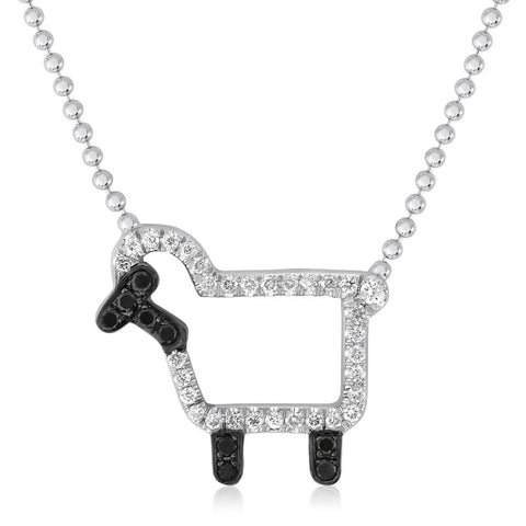 'Susie' Necklace in White Diamonds - Front