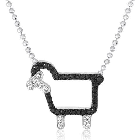 'Johnny' Necklace in Black Diamonds - Front