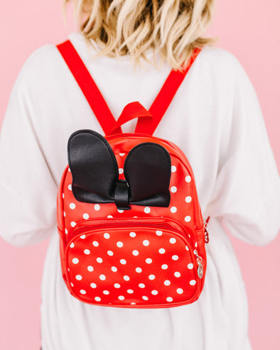 Red Dotted Mini Bow Backpack