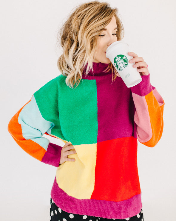 Crisp & Cozy Rainbow Sweater