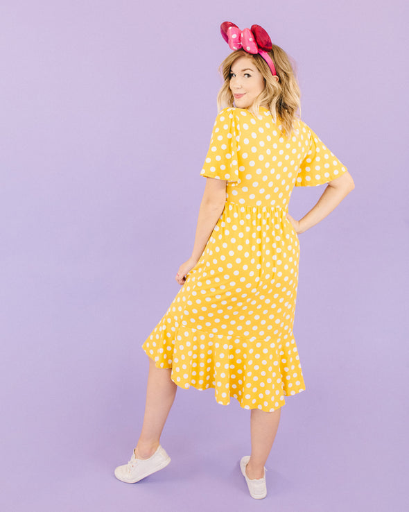 Pretty Please Yellow Dotted Dress