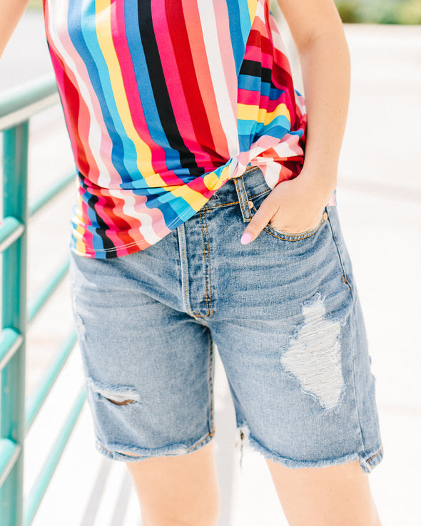 Easy Peasy Distressed Denim Shorts