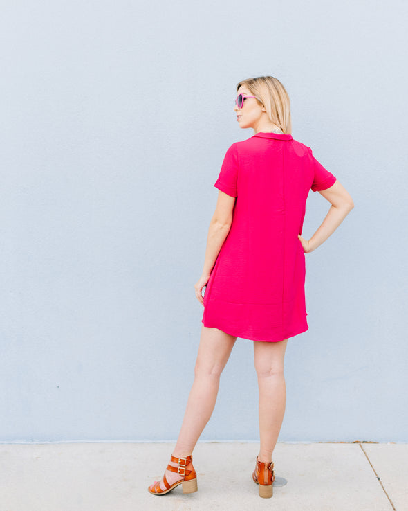 Berry Pink Collar Dress