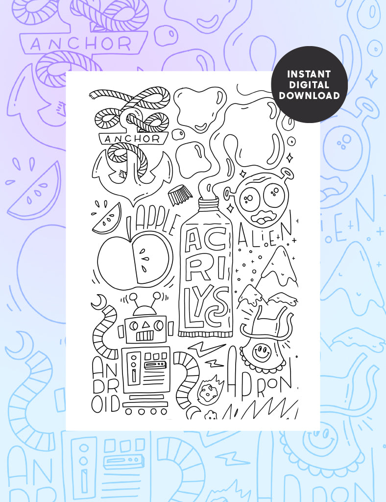 Letter A Colouring sheet - Part 1