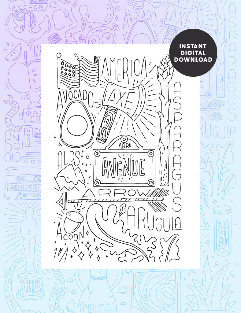 Letter A Colouring sheet - Part 2