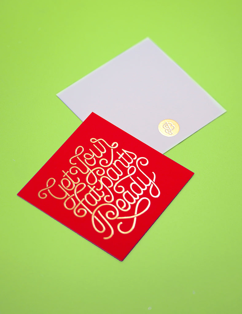 Fat Pants gold foil tags/cards