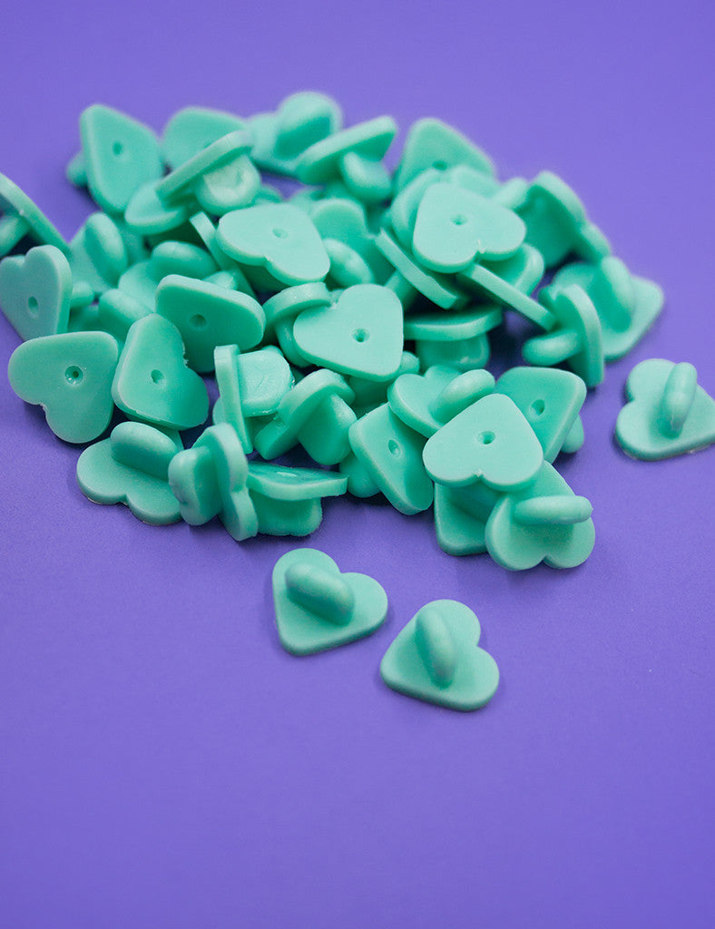 Heart rubber pin backs