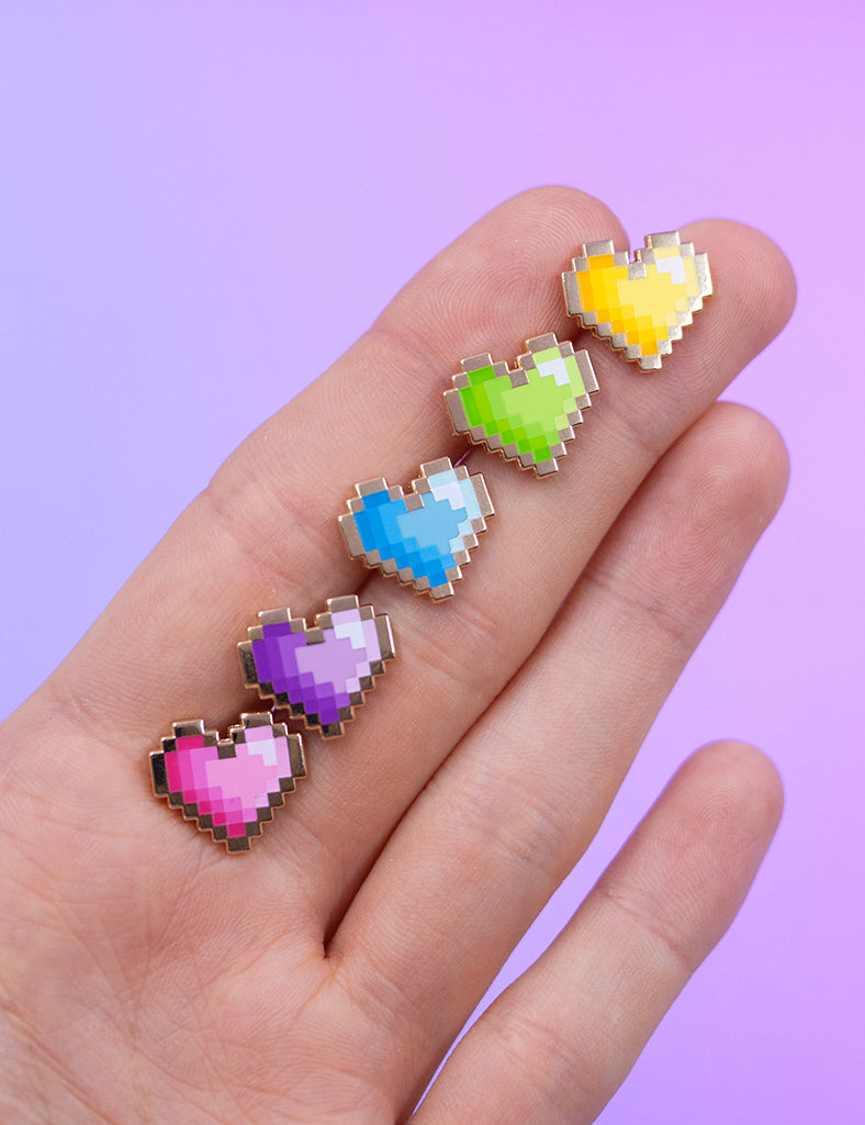 COLORED PIXEL HEART PINS