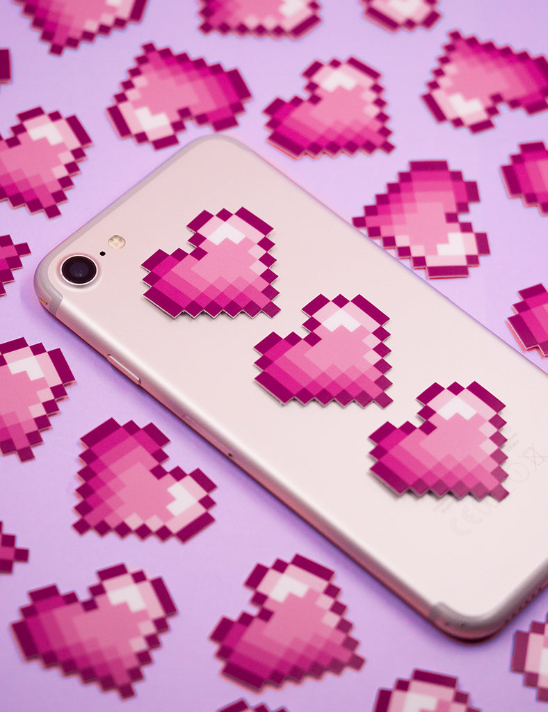 PINK PIXEL HEART STICKERS