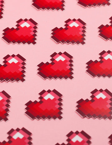 RED PIXEL HEART STICKERS