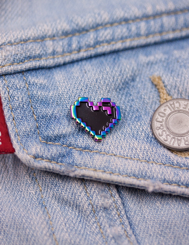 Rainbow metal PIXEL HEART PINS