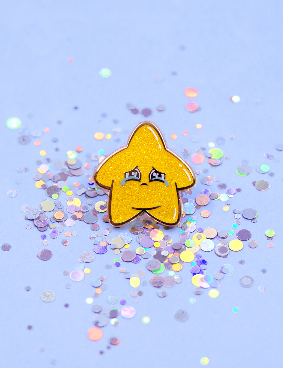 SAD GLITTER STAR PIN