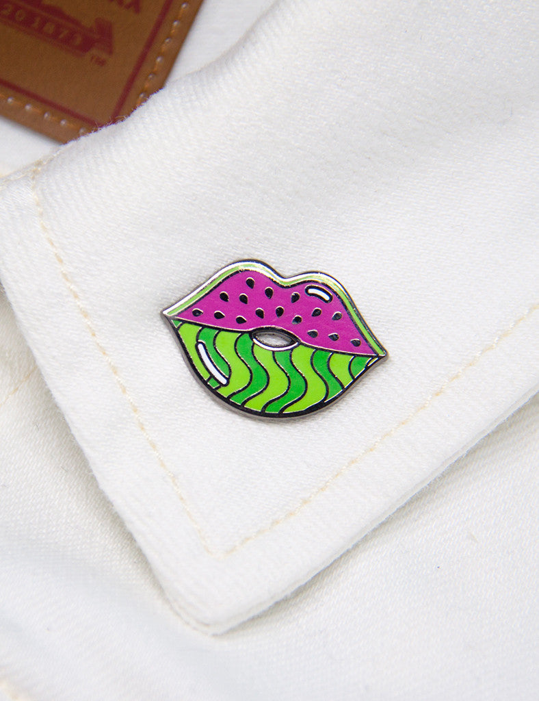 WATERMELIPS PIN - BLACK NICKEL & PINK