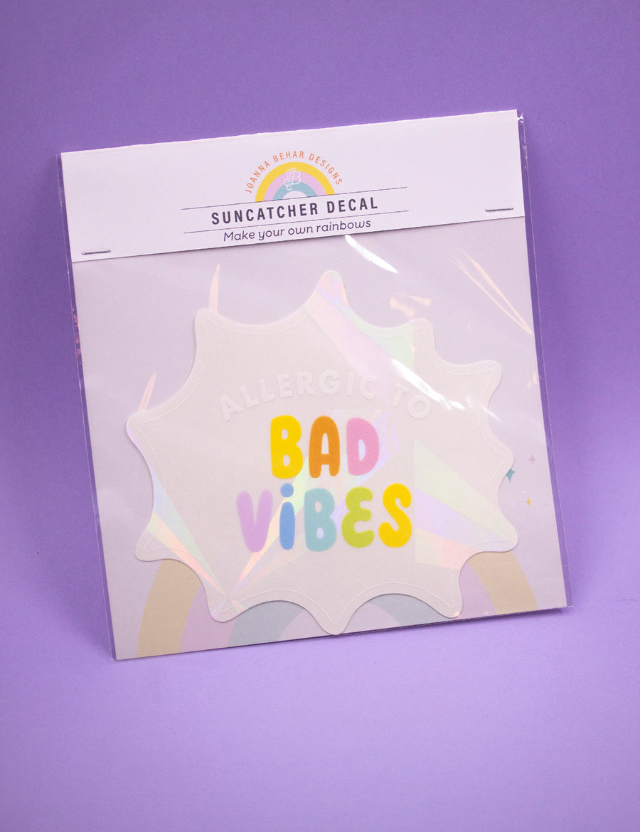 Allergic to bad vibes Suncatcher Decal