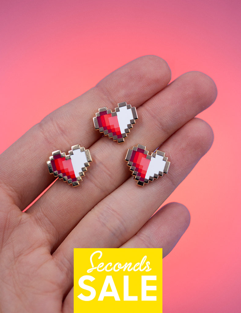 HALF PIXEL HEART PINS SECONDS SALE