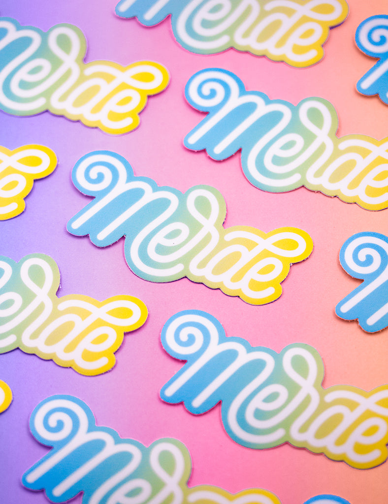 BLUE Merde STICKERS
