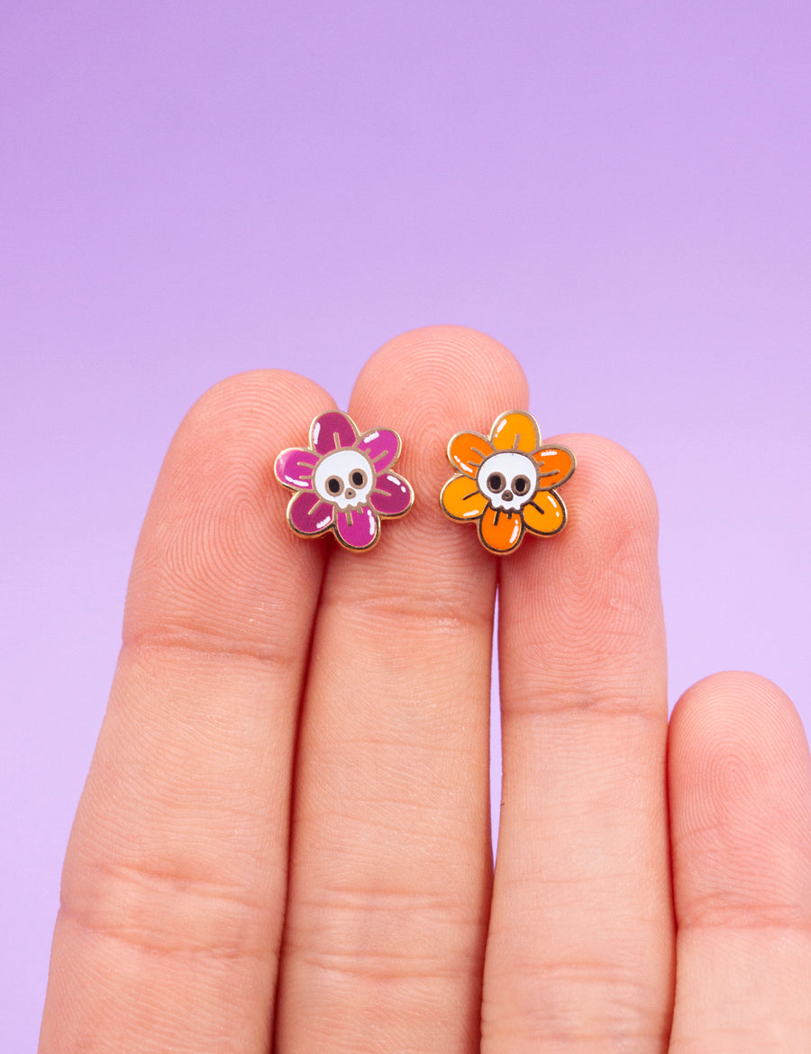 Skull flower pin set
