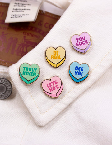 Anti-Valentine heart pins