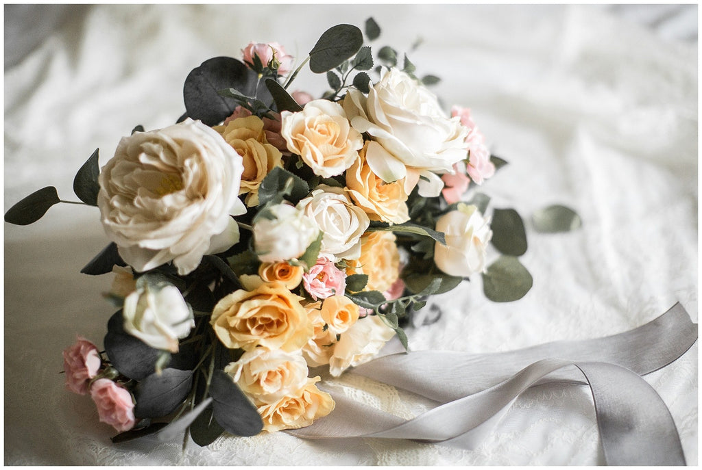 rose yellow white blush floral wedding bouquet
