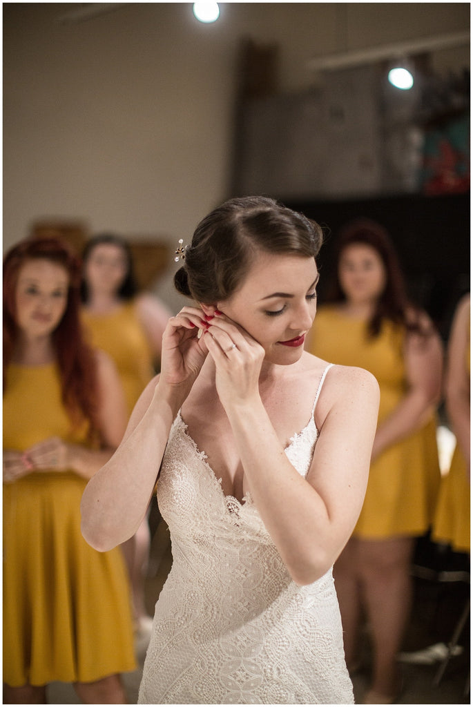 beautiful vintage wedding with mustard yellow bridesmaid dresses