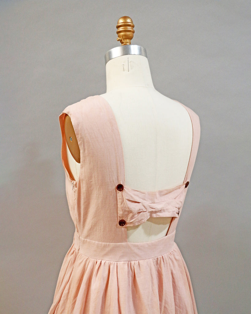 hand avocado dye pretty blush pink cotton dress with bow cut out