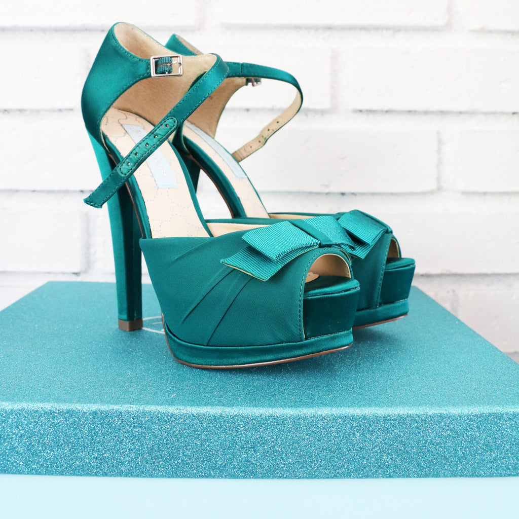 Blue by Betsey Johnson Pouf Satin Sandal in Teal