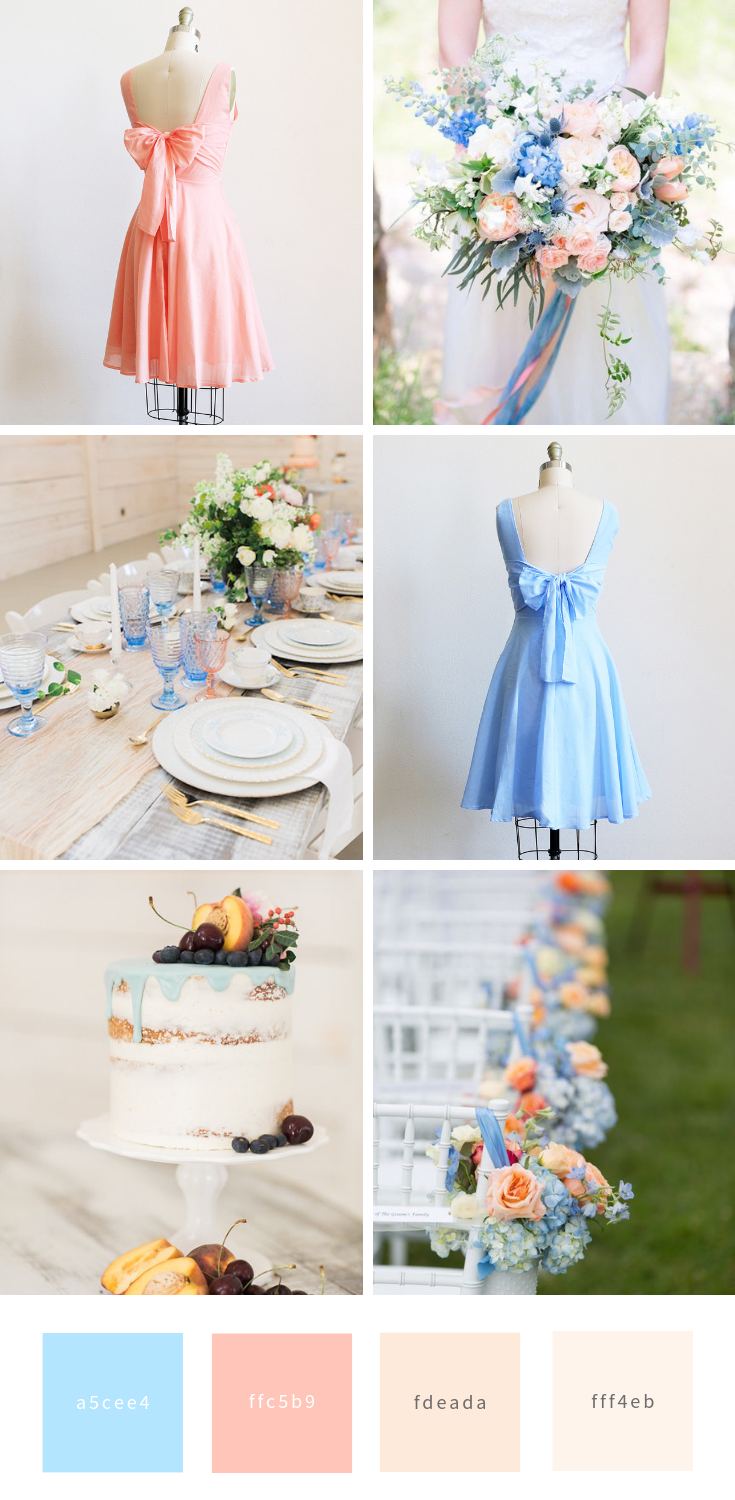 peach and light blue wedding inspiration bridesmaid dresses