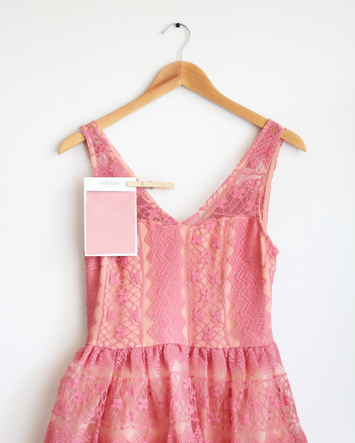 Apricity - RIVER Lace Dress in Dusty Rose Pink - David's Bridal Ballet bridesmaid dress swatch