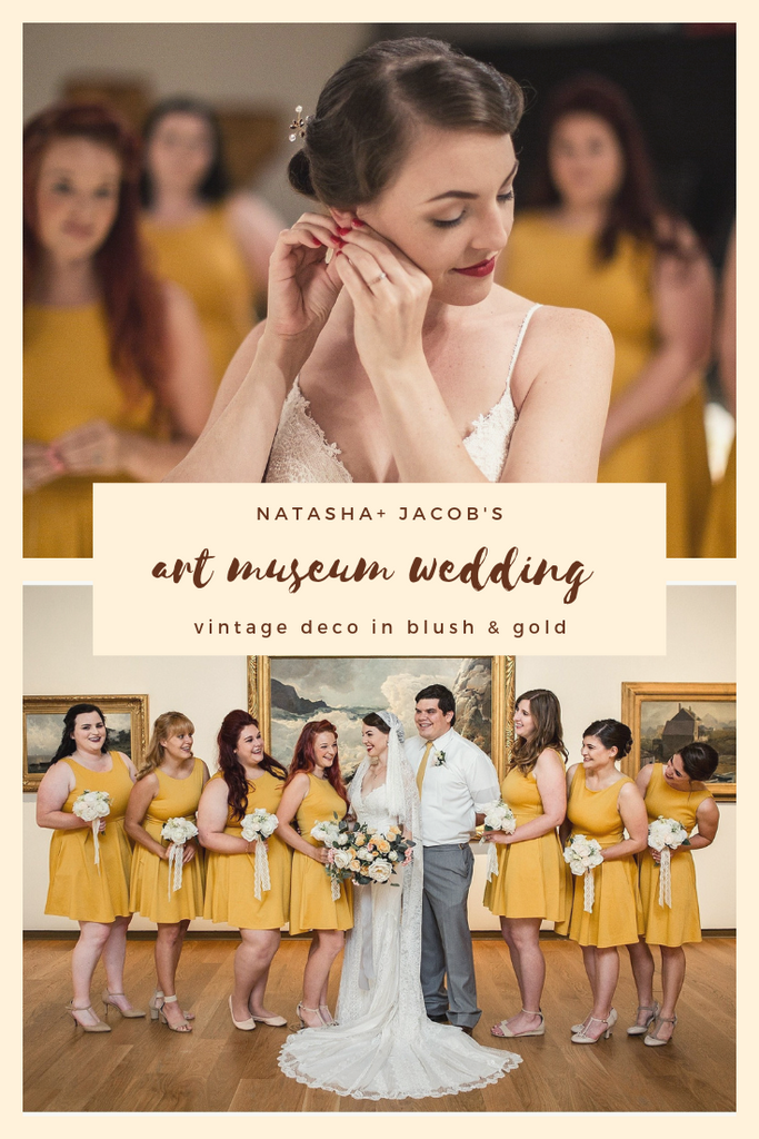 vintage style wedding in Orlando art museum with gold mustard yellow bridesmaids