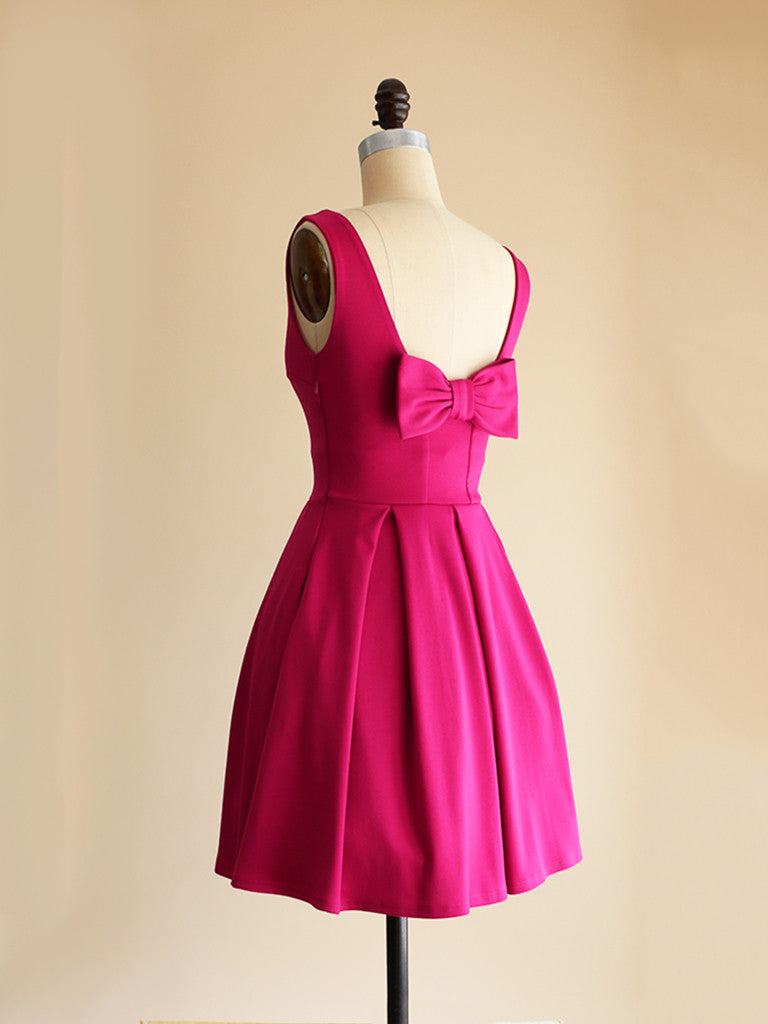 JANUARY | Fuchsia - Short Hot Pink Ponte Fit + Flare Dress with Back Bow