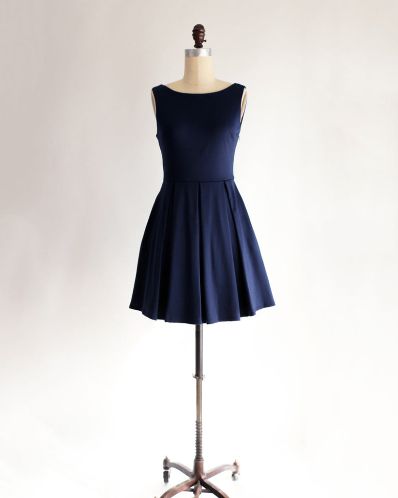 JANUARY | Navy Blue Short Ponte Fit + Flare Dress with Back Bow